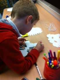 William working on his Zebra mask