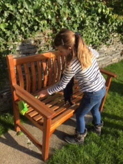 cleaning nannie's bench